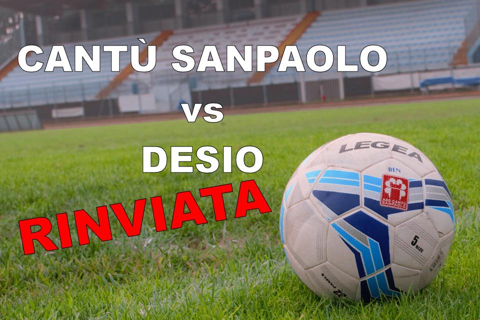 Prima Squadra: Cantù Sanpaolo vs Desio rinviata