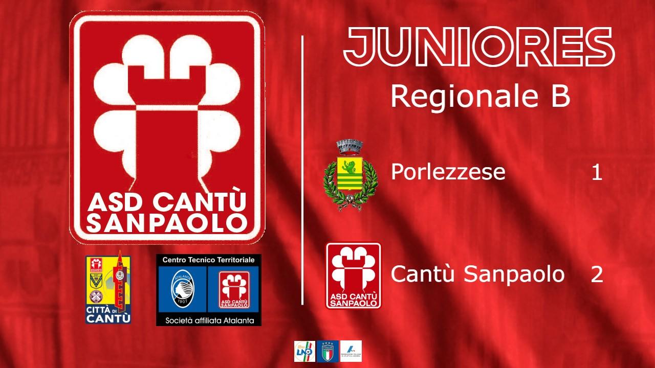 Juniores Reg. B: Porlezzese vs Cantù Sanpaolo 1 – 2