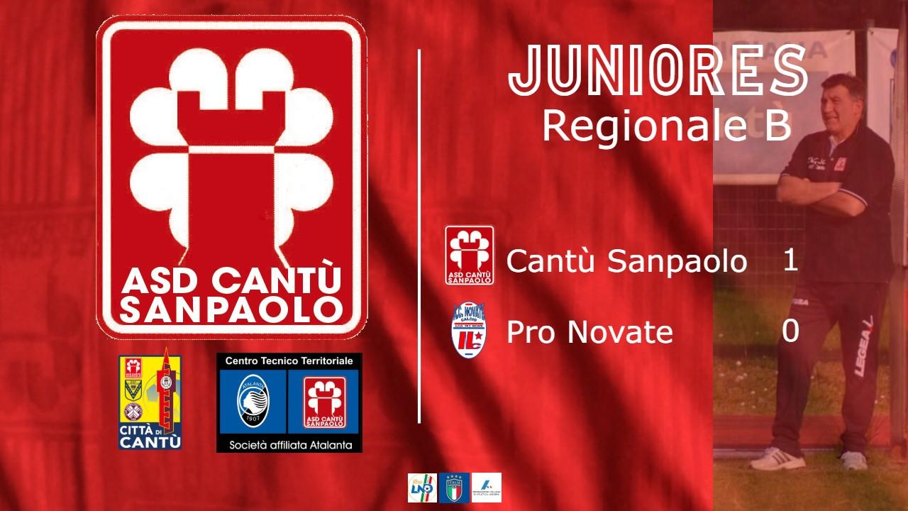 Juniores Reg. B: Cantù Sanpaolo vs Pro Novate 1 – 0