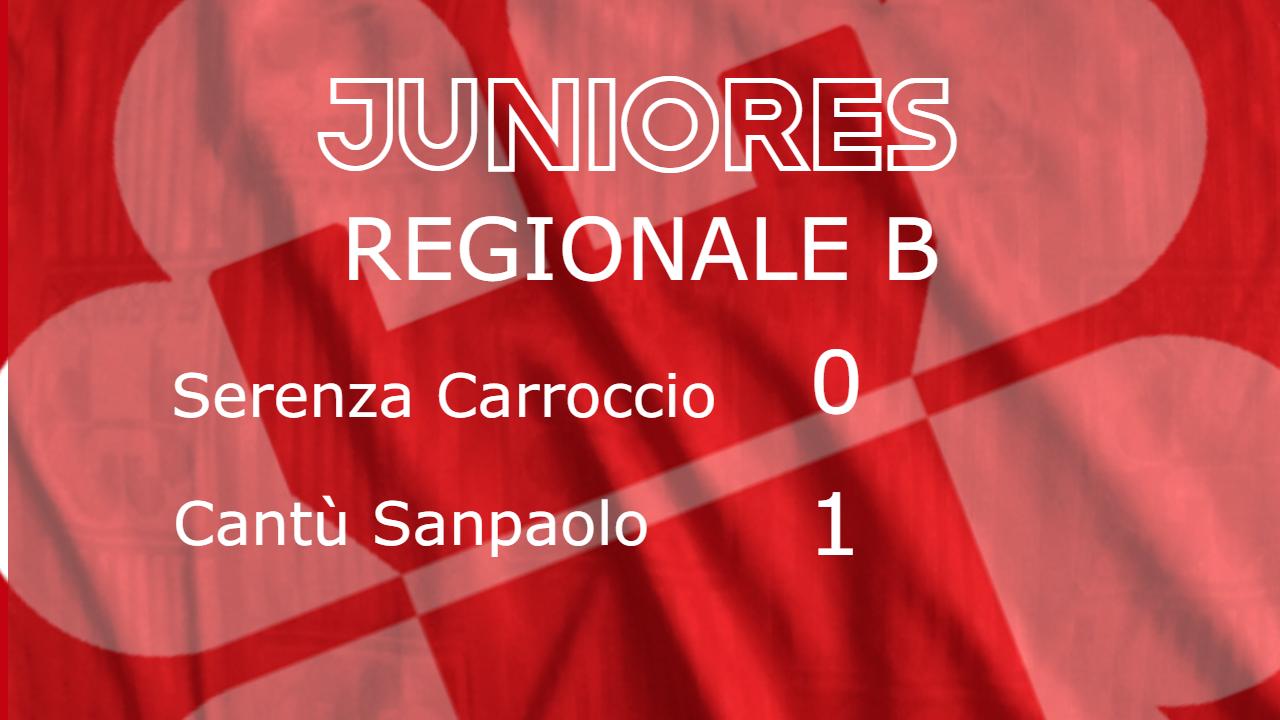 Juniores Reg.B: Serenza Carroccio vs Cantù Sanpaolo 0 – 1