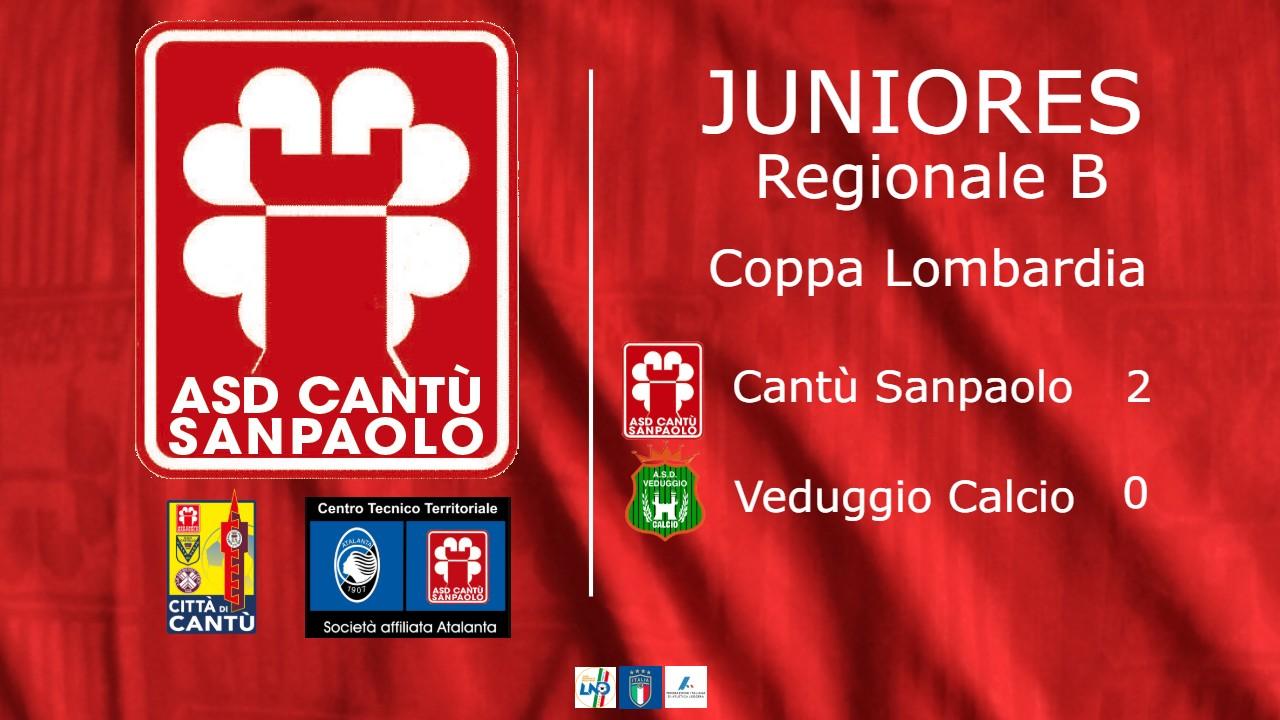 Juniores Reg. B | Coppa Lombardia: Cantù Sanpaolo vs Veduggio 2 – 0