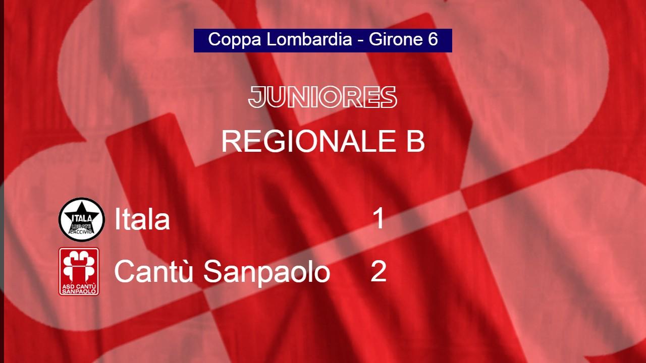 Juniores Reg. B | Coppa Lombardia: Itala vs Cantù Sanpaolo 1 – 2