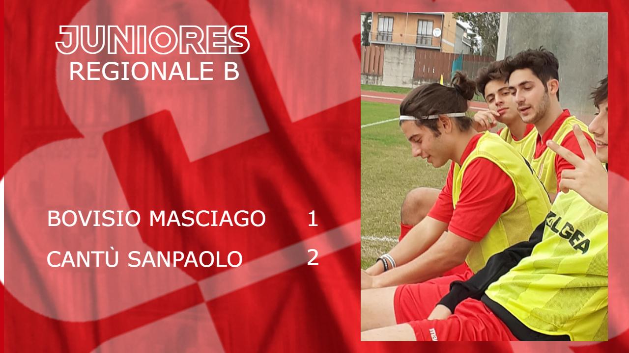 Juniores Reg.B: Bovisio Masciago vs Cantù Sanpaolo 1 – 2
