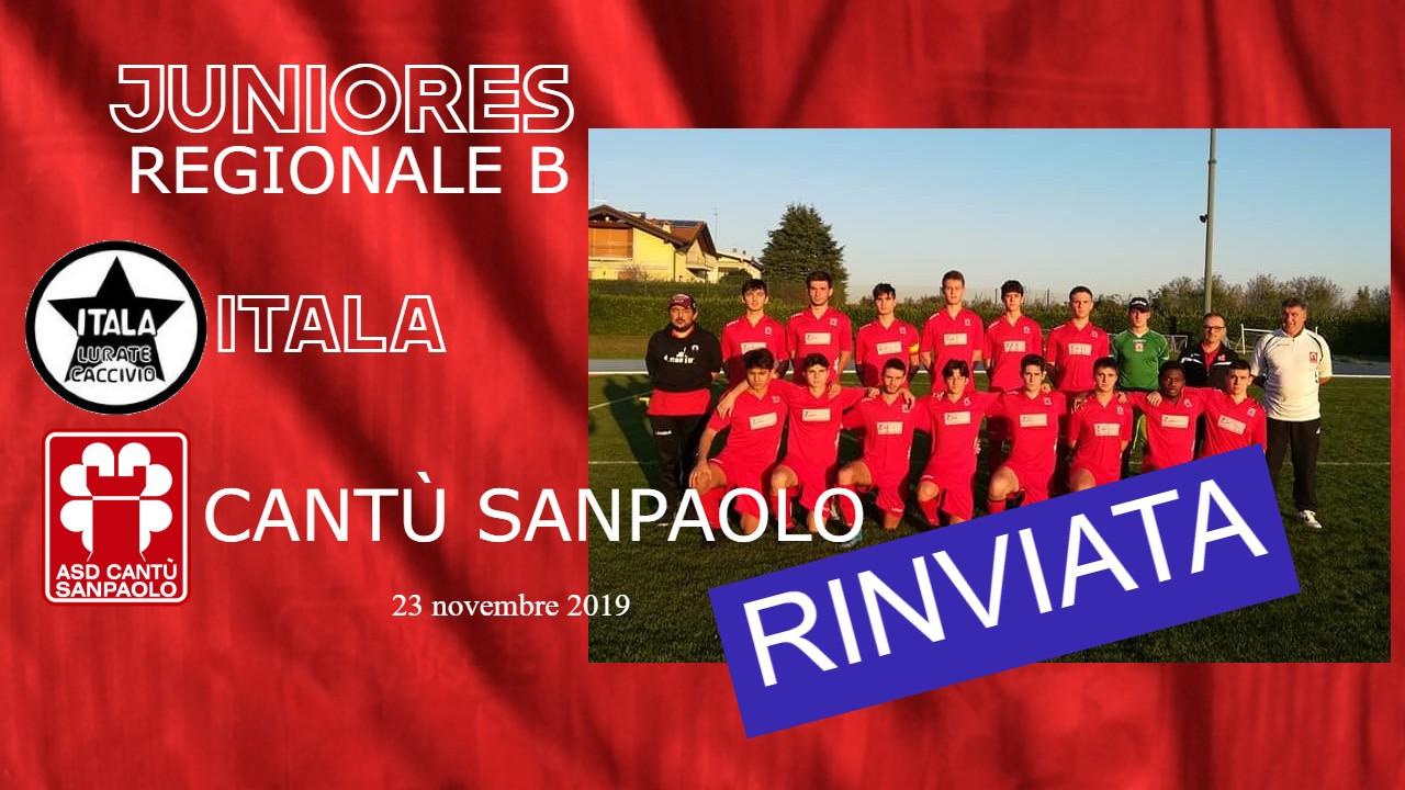 Juniores Reg. B: Itala vs Cantù Sanpaolo rinviata