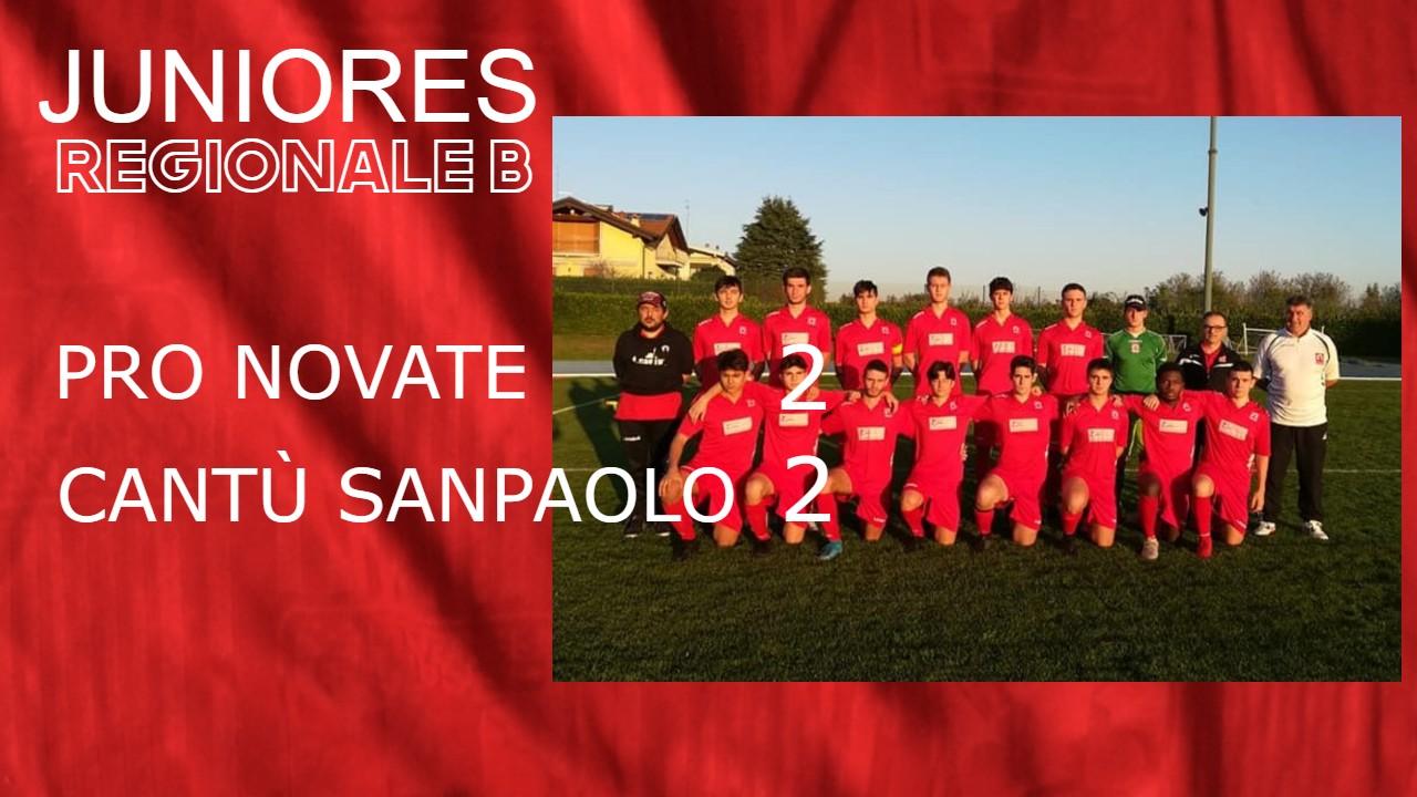Juniores Reg. B: Pro Novate vs Cantù Sanpaolo 2 – 2