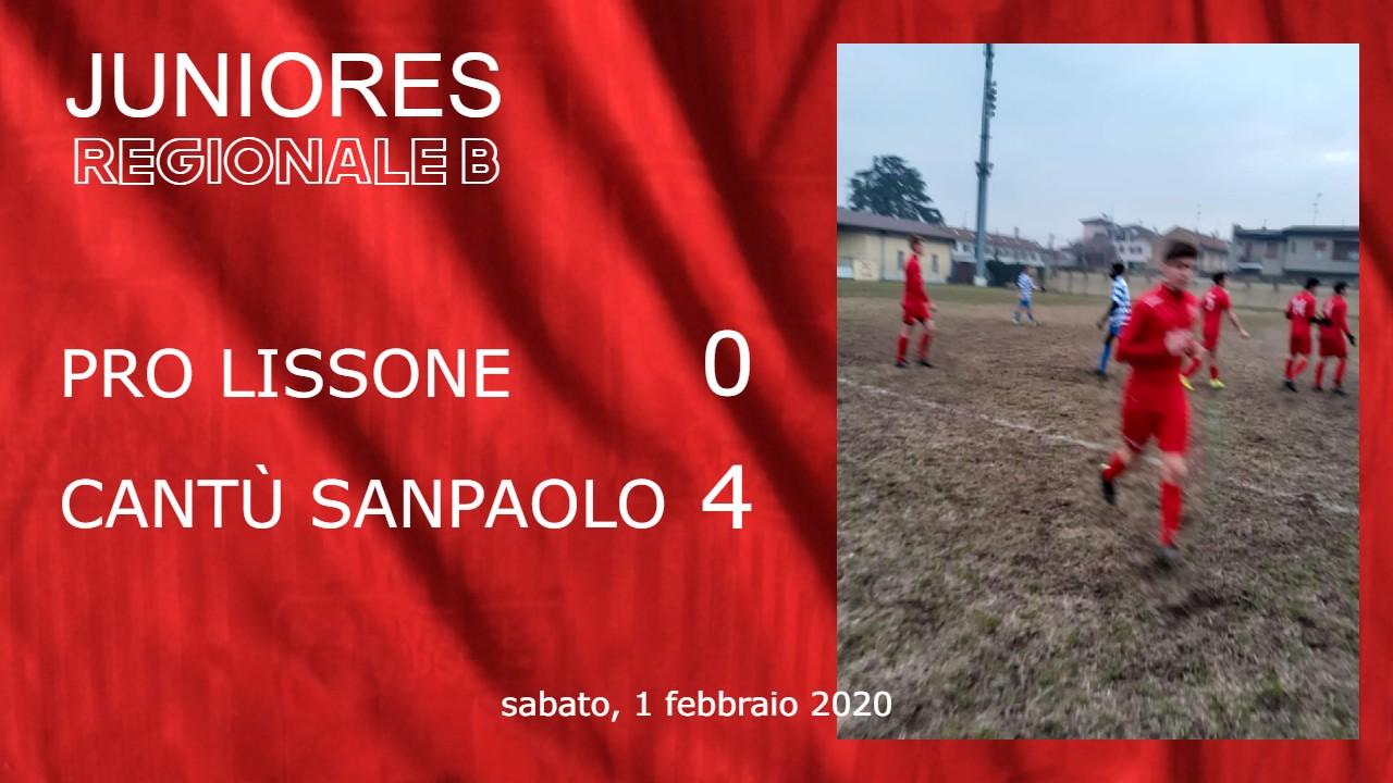 Juniores Reg. B: Pro Lissone vs Cantù Sanpaolo 0 – 4